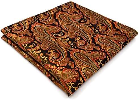Shlax & Wing Necktie Paisley Black Orange Men's Tie Jacquard Weave Long Size