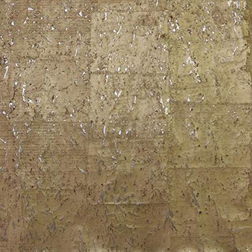 (Gold on Silver Metallic York Wallcoverings DL2962 Non-Pasted Rustic Real Natural Cork Wallpaper from The Candice Olson Natural Splendor Collection (Double Roll 3ft x 24 ft))