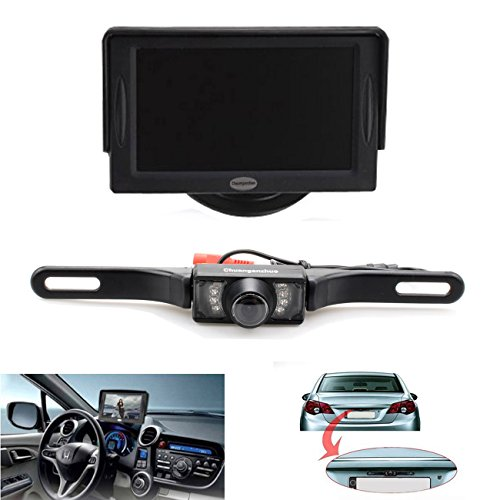 Backup Camera and Monitor Kit for Car,Universal Wired Waterproof Rear-View License Plate Car Rear Backup Camera +...