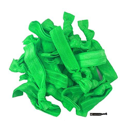 (Hair Ties 20 Elastics Ponytail Holder Set No Crease Ribbon Bands (Green))