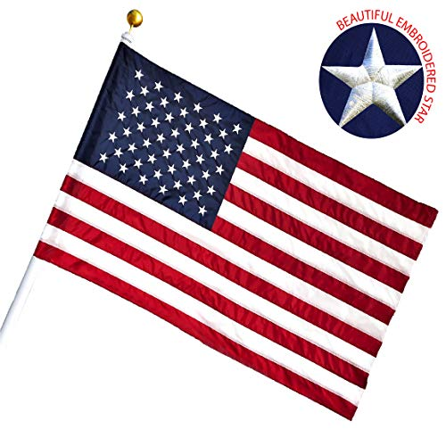 G128 - American USA US Flag 2.5x4 Ft Pole Sleeve Banner Style Embroidered Stars Sewn Stripes Pole Sleeve (Flag Pole is NOT Included)]()
