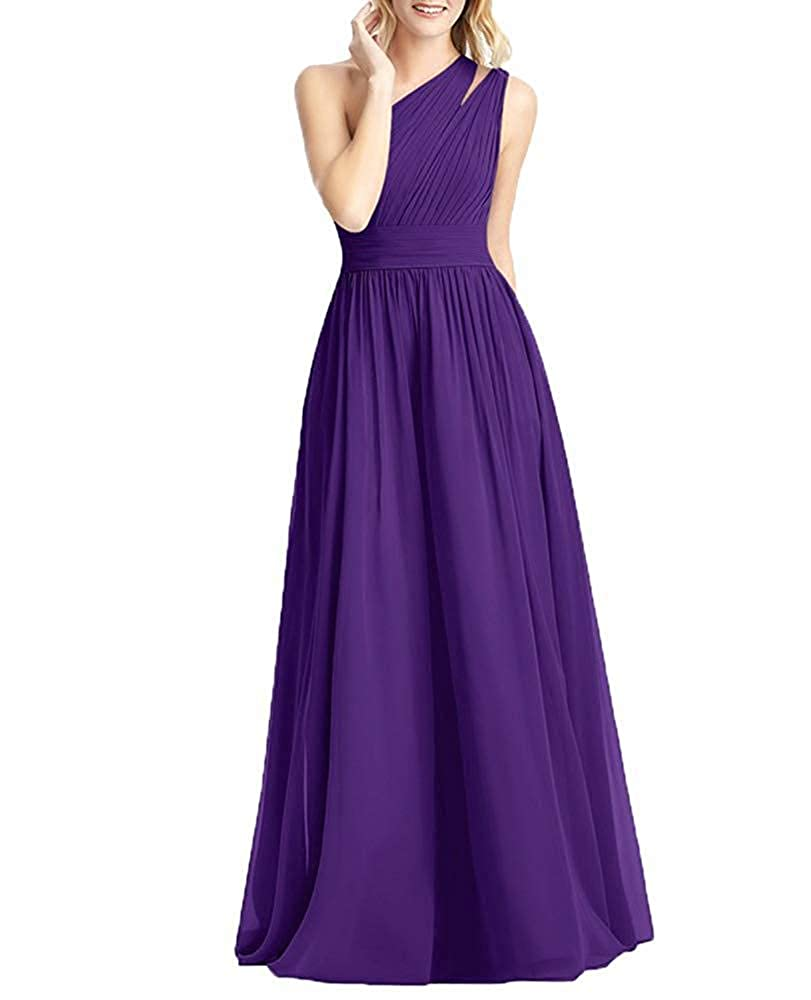 Purple NewFex One Shoulder Bridesmaid Dress Long 2019 Aline Pleated Formal Women's Evening Gown