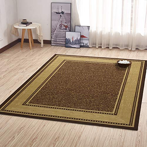 "Ottomanson Ottohome Collection Contemporary Bordered Design Modern Area Rug, 8'2""W x 9'10""L with Non-Skid Rubber Backing, Chocolate"