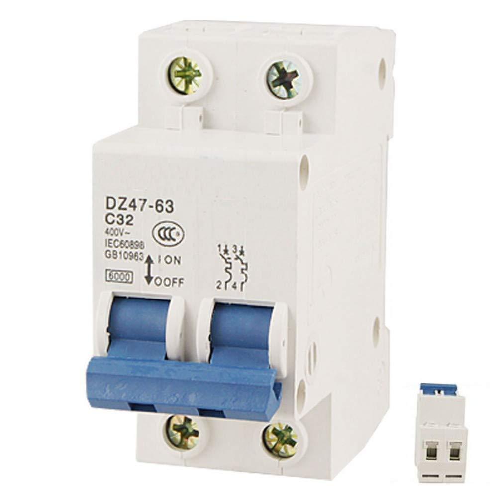 High Quality Dz47-63 C32 Ac 400V 32A 6000A 2 Poles Din Rail Mount Miniature Circuit Breaker