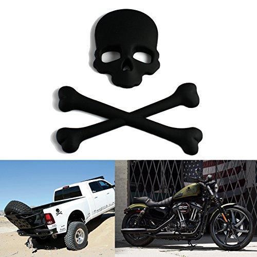 Xotic Tech Cool Sticker - Matte Black 3D Metal Cross Bones Skull Skeleton Emblem Badge Decal for Car, SUV, Truck, Off Road, Motorcycle, Cruise, Boat