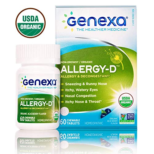 Genexa Allergy-D | Certified Organic & Non-GMO, Physician Formulated, Homeopathic | Multi-Symptom Allergy Relief Medicine | 60 Tablets