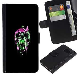 KLONGSHOP // Tirón de la caja Cartera de cuero con ranuras para tarjetas - Neon pop del cráneo del cromo - Samsung Galaxy S6 //