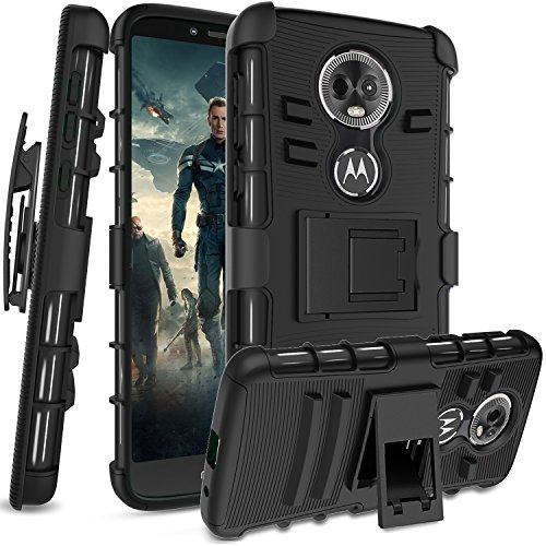Moto E5 Plus Moto E5 Supra Case with HD Screen Protector,Anoke Belt-Clip Holster Kickstand Hard PC Back Cover + Soft TPU Dual Layer Protection Defender Rugged Shockproof for Moto E5 Plus HT Black