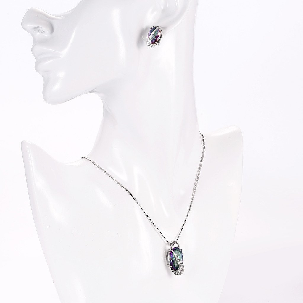 platine Jeu de bijou fantaisie Collier avec pendentif anneaux boucles doreilles Zirconium epinki