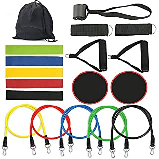 Resistance Bands Set 18 Pcs,Resistance Loop Band,Core Sliders,Door Anchor,Ankle Straps for Resistance Training,Home Exercise Tube Bands,Physical Therapy,Strengthening Muscel
