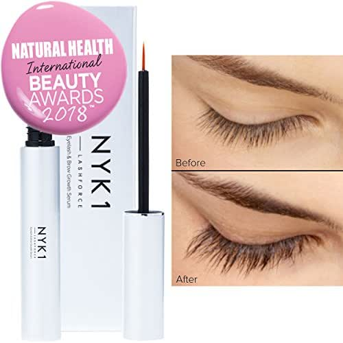 NYK1 Lash Force Eyelash Growth Serum - Grow Long Eyelashes and Thicker Eyebrows - Rapid Lash Growth Serum and Eyebrow Enhancer - 8ml