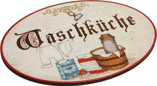 Kaltner Präsente Geschenkidee - Türschild Schild aus Holz im Antik Design WASCHKÜCHE im Antik Design