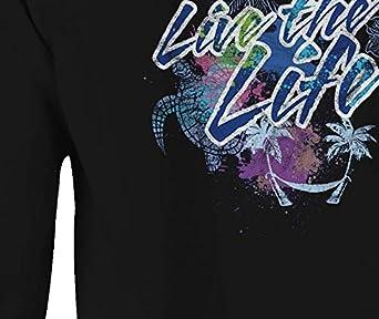 Crewneck Sweatshirt Live The Life Neon Tropical Sea Turtle Palm Trees