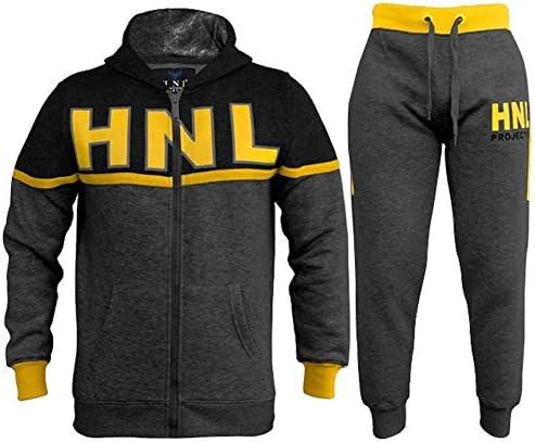Kids Boys Girls HNL Projection Tracksuit Charcoal Zipped Top Bottom Jogging Suit