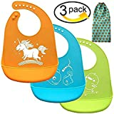 Baby bibs, Christmas Baby Gifts, Comfortable Soft Baby Bibs With Gift-Wrapping, Silicone Bibs for Newborns Infant Toddlers, Easily Wipes Clean ,Set of 3 Colors (3pcs, Silicone baby bibs)