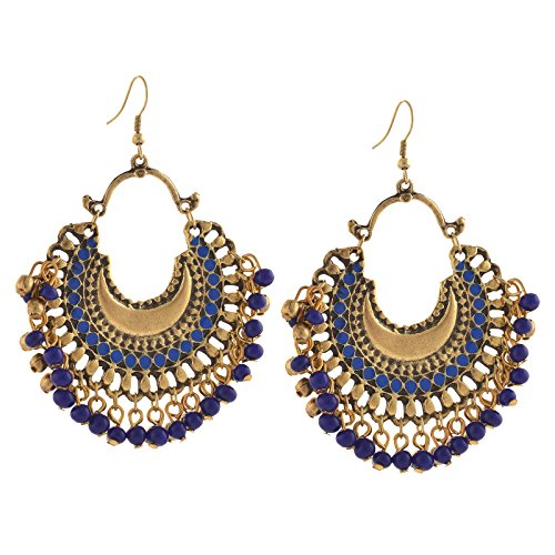 Zephyrr Fashion German Silver Ethnic Beaded Dangler Hook Earrings for Women