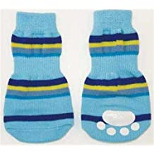 Ethical Fashion Pet Lookin Good Striped Slipper Socks for Dogs, Large, Blue