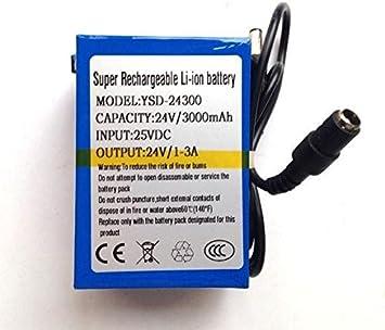 24V DC 3000mAh Batería Recargable Li-Ion Lithium-Ion con Cargador