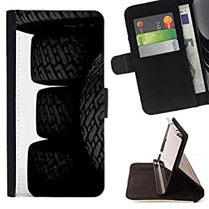 - Car Tires Wheels - - Prima caja de la PU billetera de cuero con ranuras para tarjetas, efectivo desmontable correa para l Funny HouseFOR Apple Iphone 6 PLUS 5.5