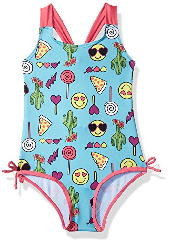 Pink Platinum Toddler Girls' Happy Emoji 1-Piece Swimsuit, Blue Fish, 4T (Toddler Girls 1 Swimsuit Piece)