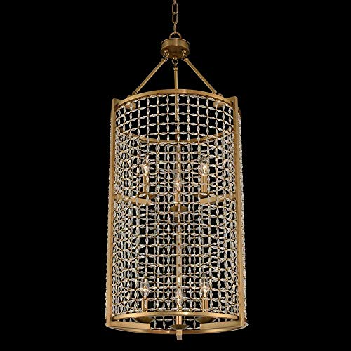 Kalco 032150-043-FR001 Verona - Six Light 2-Tier Foyer, Brushed Pearlized Brass Finish with Firenze Clear Crystal