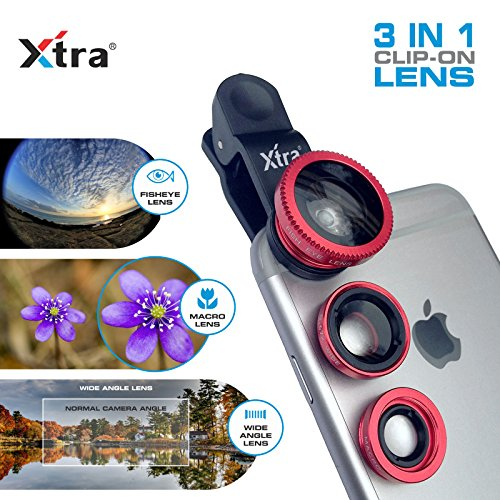 3-in-1 Clip Lens for Mobile Phones and Tablets Set of 2 (Red) - 1