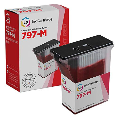 Pitney Station Mail Bowes - LD Compatible Ink Cartridge Replacement for Pitney Bowes 797-M (Fluorescent Red)
