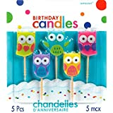 """Party Time Molded Owls Birthday Toothpick Candles, Pack of 5, Multi , 1.25"""" Wax, Toothpick"""