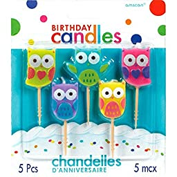 Party Time Molded Owls Birthday Toothpick Candles, Pack of 5, Multi , 1.25\