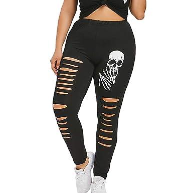 1355aa907d0 Willow S Fashion Women High Waist Yoga Sport Pants Plus Size Shredding  Skulls Leggings Black