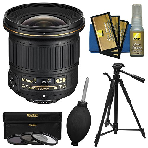 Nikon 20mm f/1.8G AF-S ED Nikkor Lens with Tripod + 3 UV/CPL/ND8 Filters + Kit
