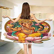 "Bohemian Bath towel Elephant Goddess Lotus Flower Throne with Floral Frame Graphic Print Eastern Deity Cotton Beach Towel Multicolor (55""x28"")"