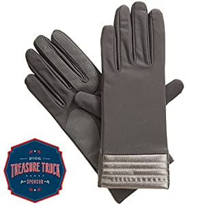 Isotoner Spandex smarTouch Gloves with Metallic Hem, Charcoal, Small/Medium