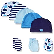 Luvable Friends 5-Pack Cap and 3-Pack Scratch Mitten Set, Blue Whales, 0-6 Months