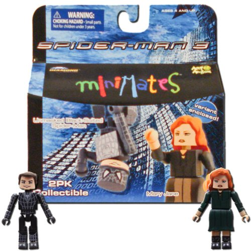 (Marvel MiniMates Series 18 Spider-Man 3 Unmasked Black-Suited Spider-Man and Mary Jane (Includes Variant Mary Jane))