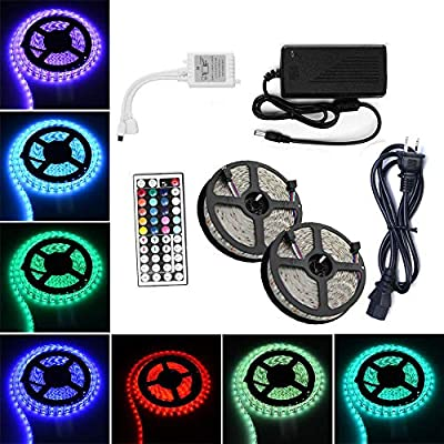 Outdoor RGB LED Strip Light Kit - Waterproof 12V 32.8 Ft 10M Color Chasing LED Tape Light - 5050 SMD Remote Controller - Power Supply for Bathroom Light Outdoor Lighting Under Cabinet Lighting