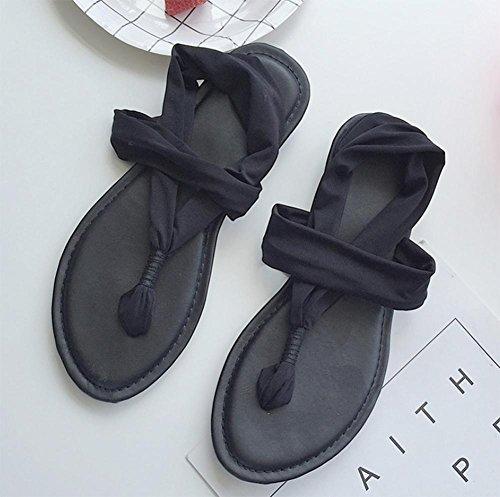 zapatos casuales sandalias planas simples femenina antideslizante yoga malla de zapatos Black