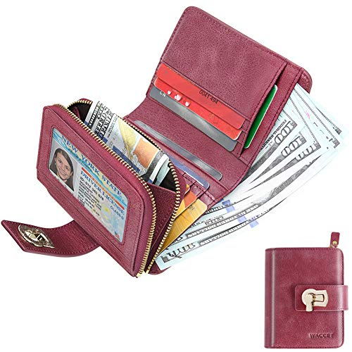 HUANLANG Womens Wallet Trifold RFID Blocking Ladies Leather Wallets with Coin Zipper Multi Card Wallets for Women