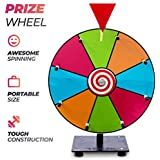 """REDLEK Spinning Prize Wheel Small 12"""", Spinning Tabletop 8 Slots Roulette Wheel with Dry Erase Markers and Eraser 