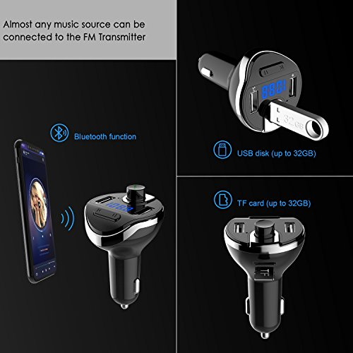 FM Transmitter, Lefun Bluetooth Car Adapter Wireless Radio Audio Receiver Stereo Music Tuner Modulator Car Kit with Dual USB Charger Support TF Card / USB Flash Drive / Hands-Free Talking