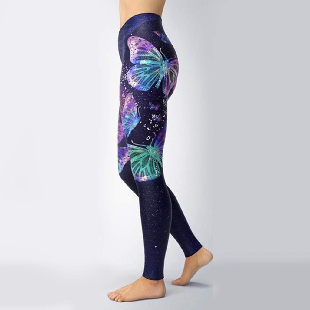 Mujer Yoga de Deportivo Pantalones,Leggings Cintura El/ástica Impresi/ón de Mariposa Pantalones de Ch/ándal con Bolsillo Polainas de Fitness de Danza Pilates Deporte