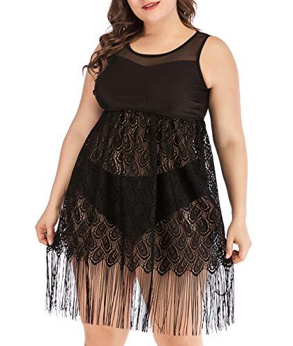 - Lalagen Womens Lace Fringe Swimdress Plus Size Two Piece Tankini Swimwear Black XL