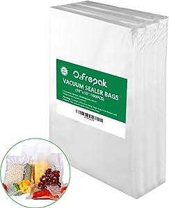 """Premium!! O2frepak 100 Plus Quart 10"""" x 13"""" Embossed Food Saver Vacuum Sealer Bags for Seal a Meal,Food Saver,Plus other Machines.BPA Free Commercial Grade Sous Vide Vaccume Seal PreCut Bag"""