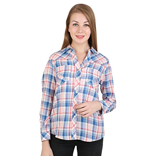 Multi Check Shirt - EVES PRET A PORTER Women's Cotton Yarn Dyed Check Shirt Medium Multi