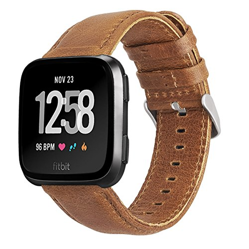 KADES for Fitbit Versa Bands, Classic Leather Band Replacement Strap Compatible for Fitbit Versa 2/ Fitbit Versa Lite Edition Smart Watch Men Women (Brown Band+ Silver Buckle)