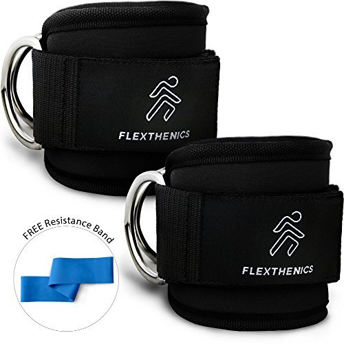 Wide Ankle Band (Ankle Straps for Cable Machine By Flexthenics - Adjustable Cuffs Strong Velcro Double-D Rings Neoprene Padded For Comfort - Sculpt The Legs & Glutes You've Always Wanted For Women & Men)