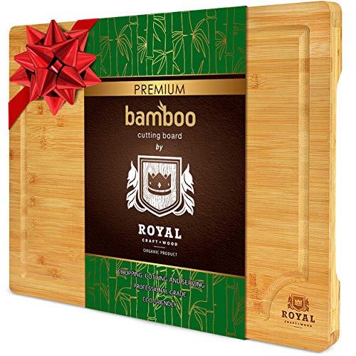 """EXTRA LARGE Organic Bamboo Cutting Board with Juice Groove - Kitchen Chopping Board for Meat (Butcher Block) Cheese and Vegetables   Anti Microbial Heavy Duty Serving Tray w/Handles - 18 x 12"""""""