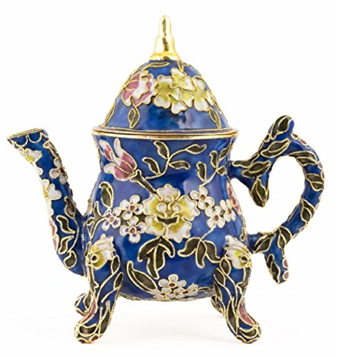 Cloisonne English Decorative Teapot 5 Inches Tall, 4.75 Inches Wide (Blue)