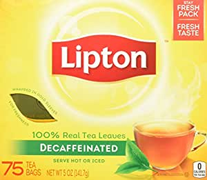 Lipton Black Tea Bags, Decaffeinated, 75 Count, 2 Pack