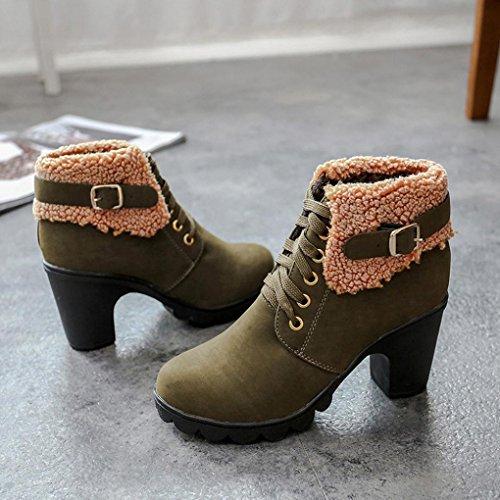 Kaiki Frauen Gürtelschnalle Damen Faux Stiefel Stiefeletten High Heels Martin Schuhe Green